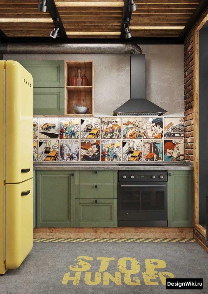 Цветовая гамма кухни в стиле лофт - желтый и хакки
