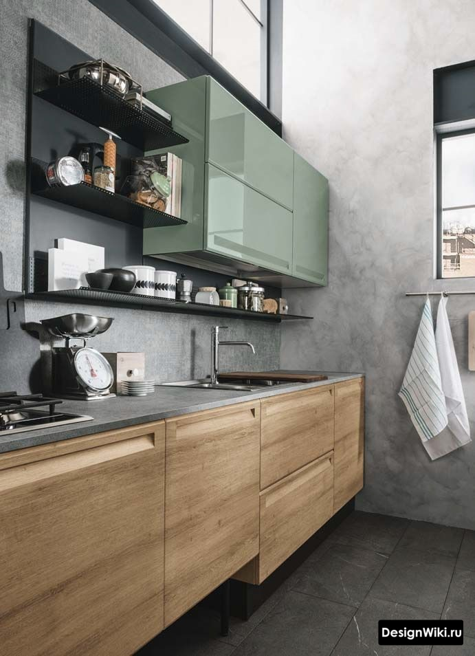 Цвет Хаки в интерьере кухни в стиле лофт