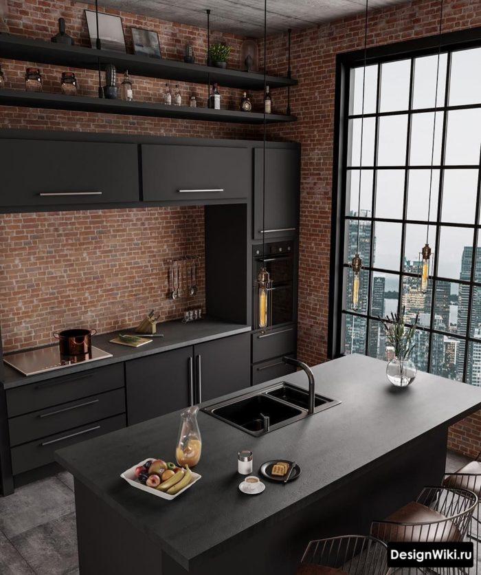 Черная кухня с красным кирпичом
