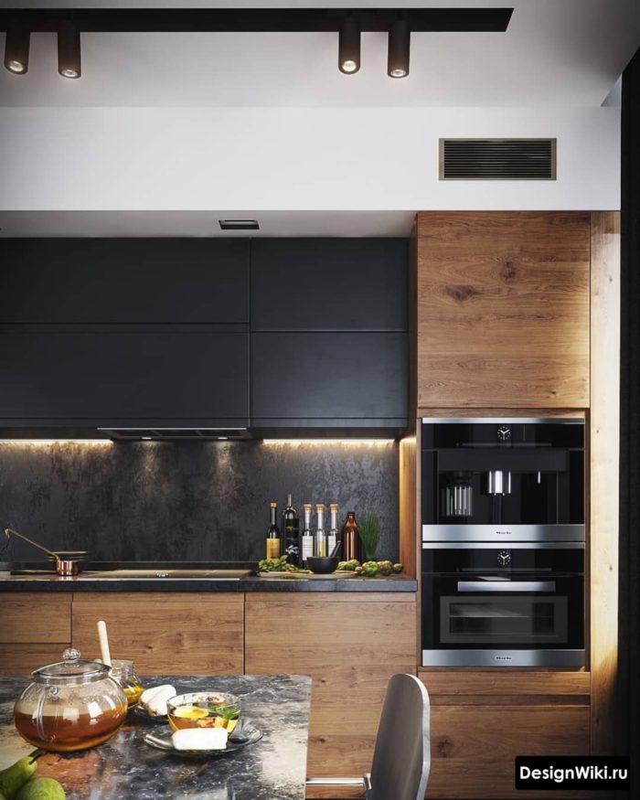 Черный, серый, белый и дерево в интерьере кухни