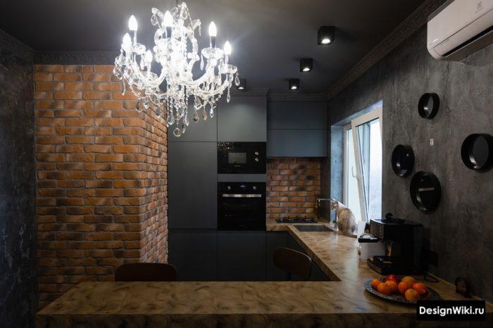 Чёрная кухня в стиле лофт