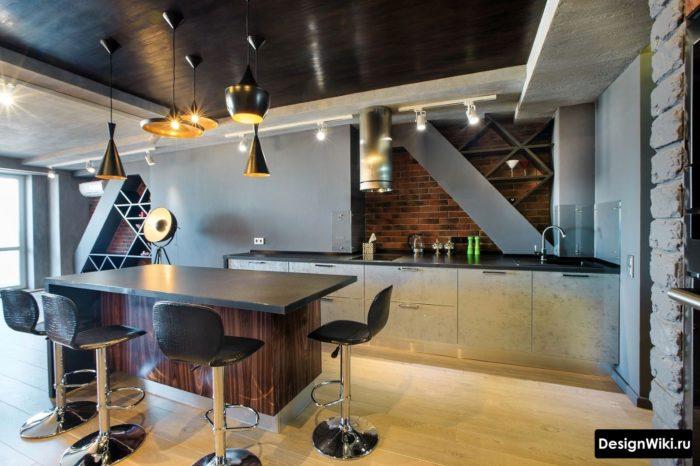 Элементы лофта в современной кухне
