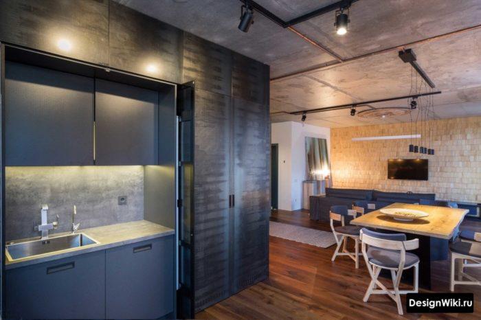 Элементы стиля лофт в дизайне кухни