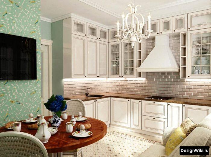 Акцентные бирюзовые обои на кухне в стиле прованс
