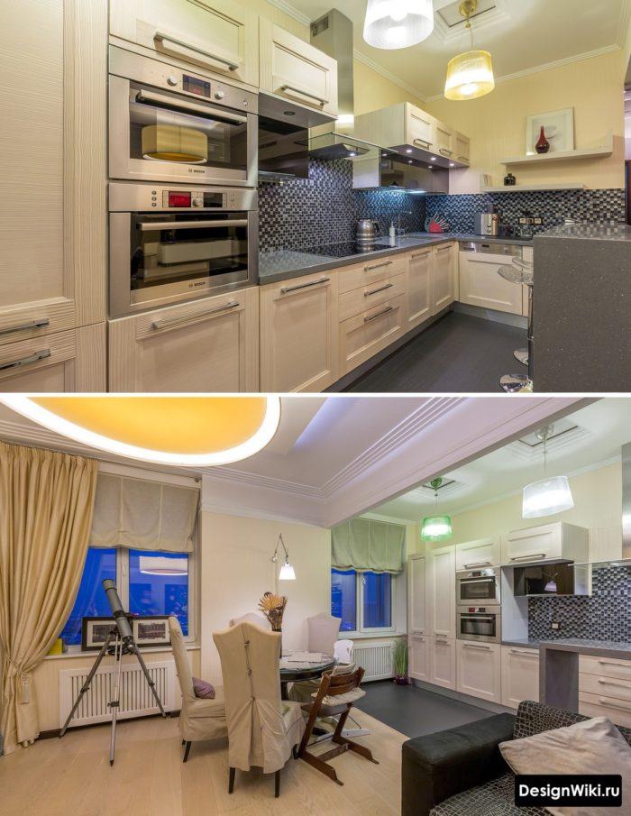 Бежевая кухня-гостиная в стиле неоклассика
