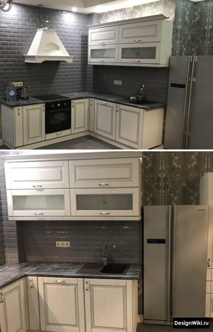 Белая кухня в стиле неоклассика и черный декоративный камень