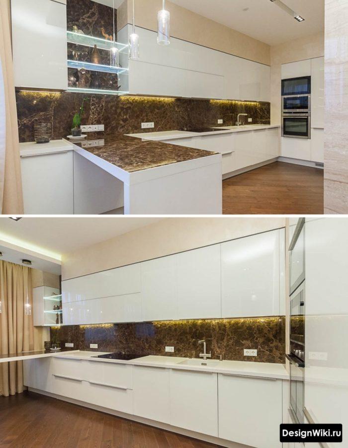 Белая кухня с бежевыми шторами до пола