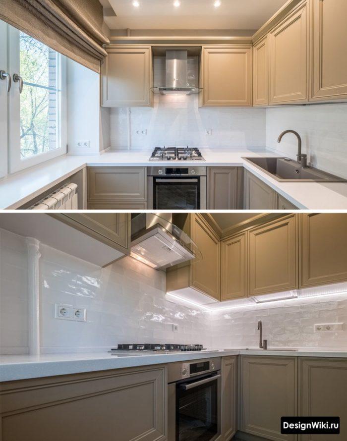 Бело-серая кухня в стиле неоклассика