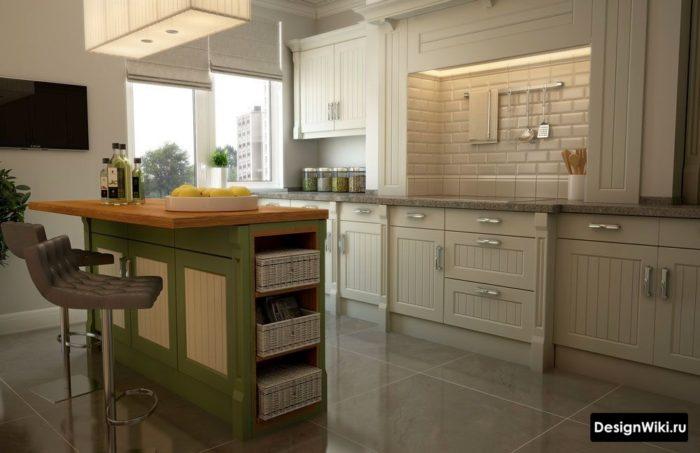Белые кирпичики на фартуке кухни в стиле прованс