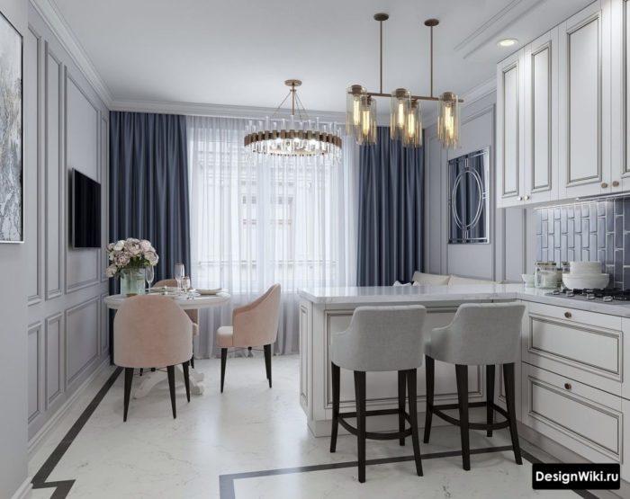 Классическая кухня с серыми шторами