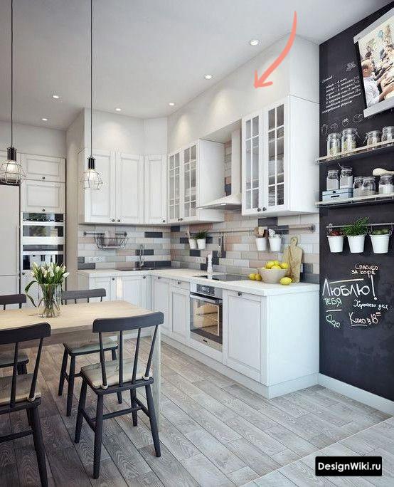 Короб из гипсокартона на кухне под потолок над верхними шкафами