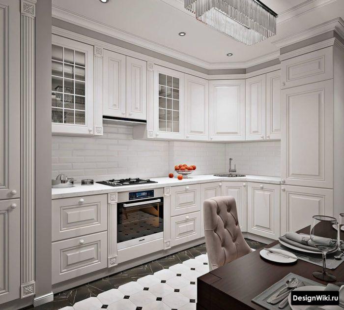 Кухня в стиле неоклассика с белым кирпичиком на фартуке