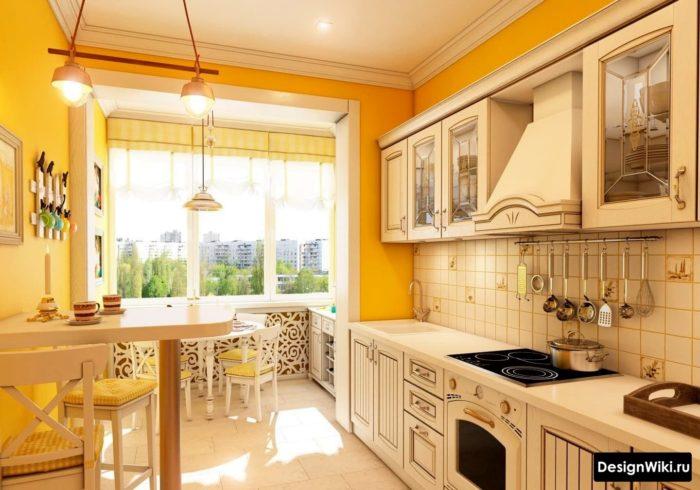 Кухня в стиле прованс с балконом в квартире