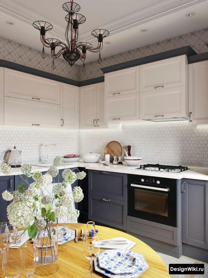 Кухня совмещенная с балконом в стиле неоклассика
