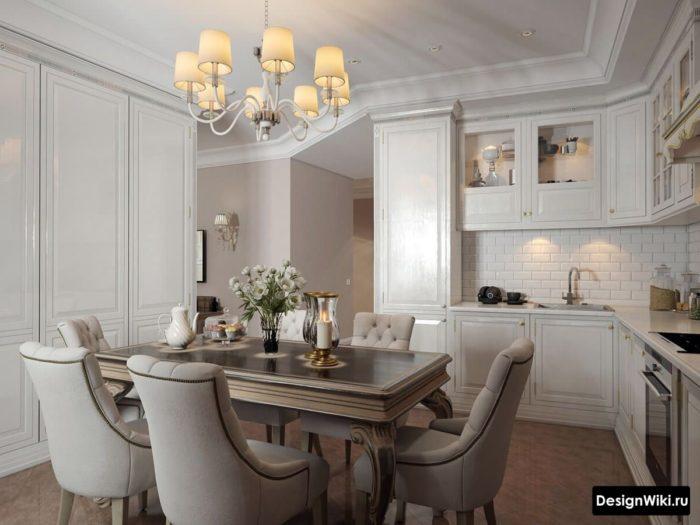 Кухня-столовая в стиле неоклассика
