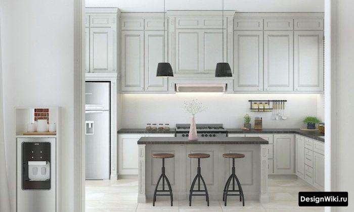 Кухня цвета слоновой кости в стиле неоклассика