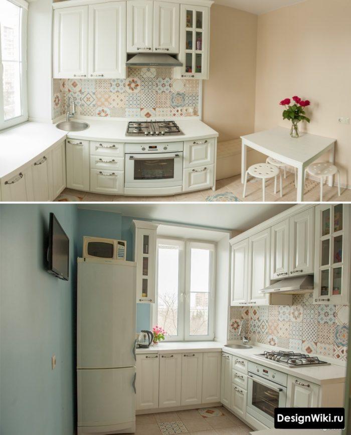 Маленькая белая кухня в квартире в стиле прованс