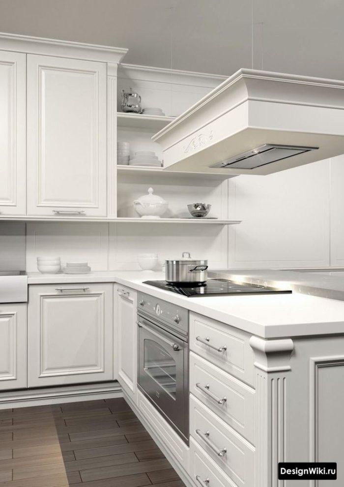 Мебельные ручки в интерьере кухни в стиле неоклассика