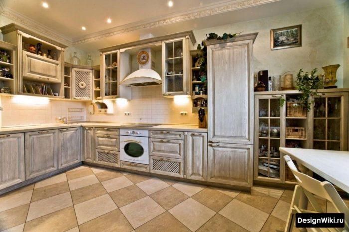 Напольная квадратная плитка в стиле прованс для кухни