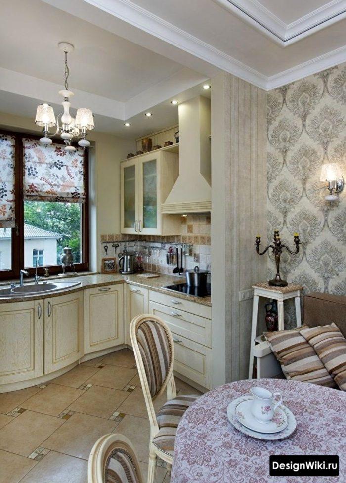 Обои в стиле прованс на кухне в частном доме