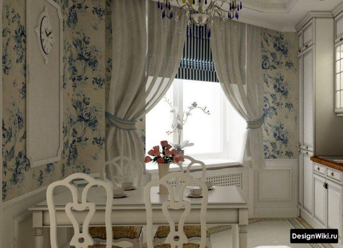 Обои с голубыми цветам на кухне в стиле прованс