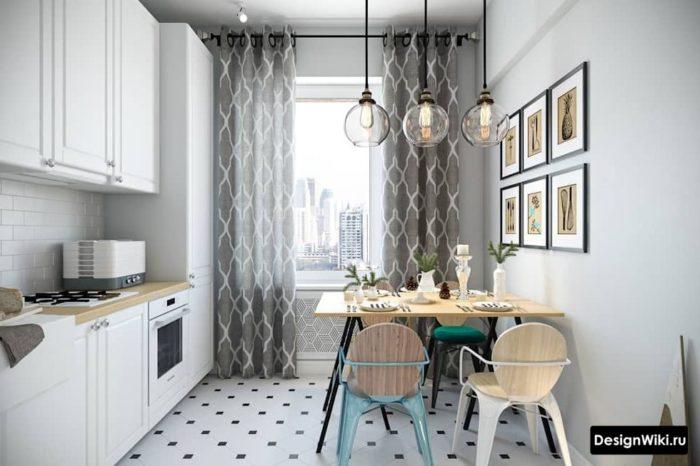 Серые шторы на люверсах в интерьере кухни в скандинавском стиле