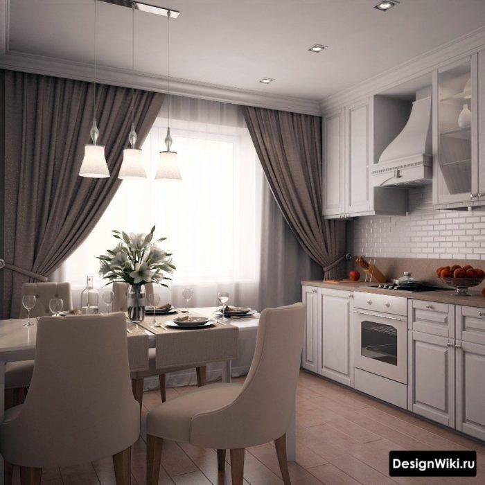 Серые шторы с подвязками в интерьере белой кухни