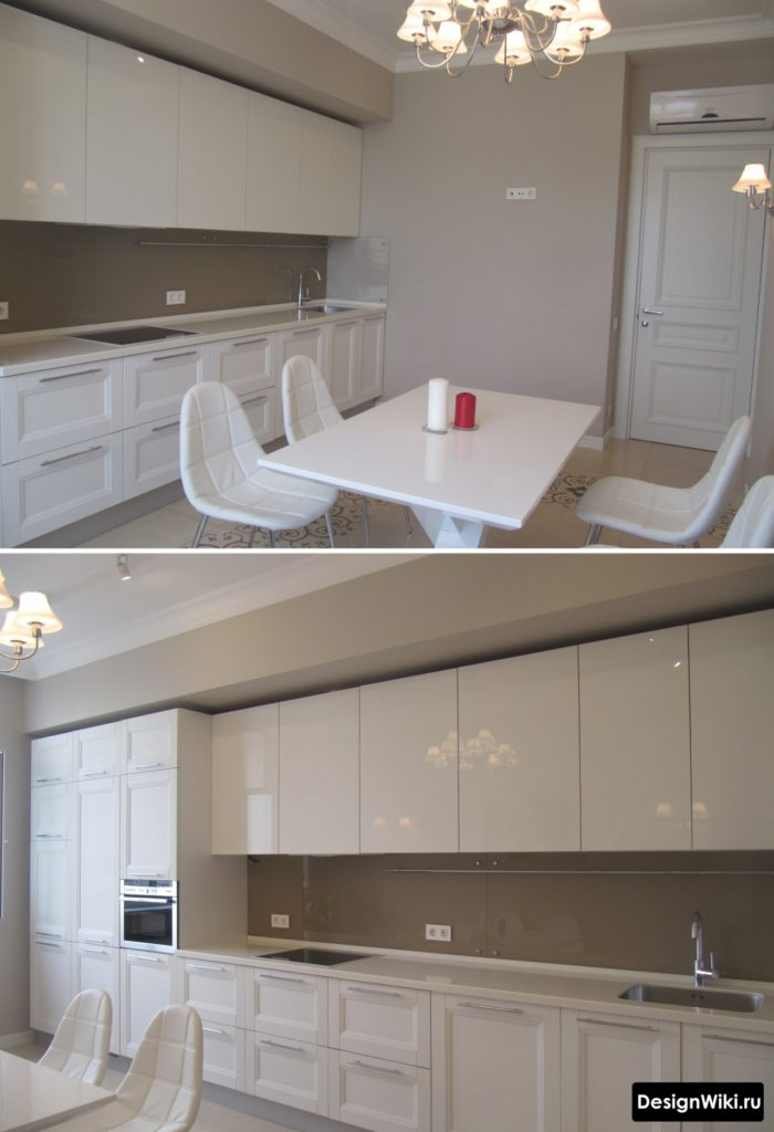 Сочетание белого мата и глянца на кухне в стиле неоклассика
