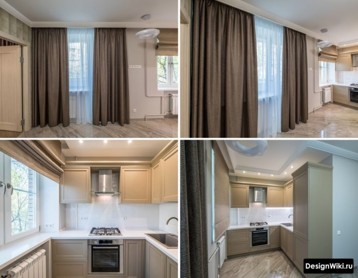 Сочетание длинных штор в пол и коотких занавесок в кухне-гостиной