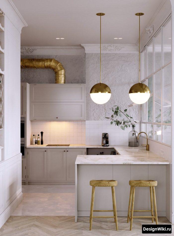 Стык паркета и плитки на полу кухни в стиле неоклассика