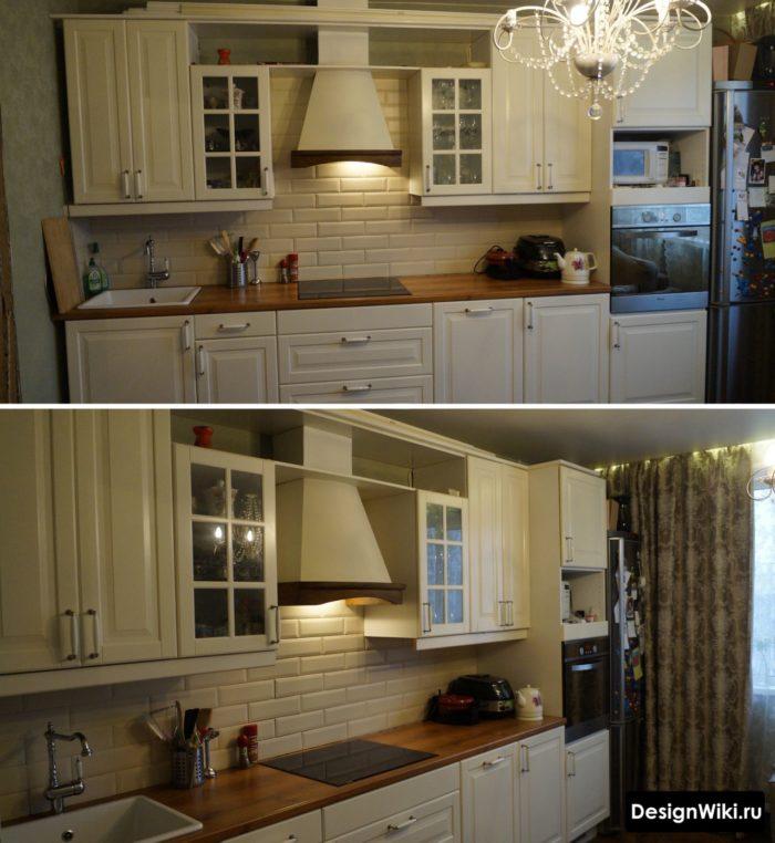 Темные шторы в интерьере светлой кухни