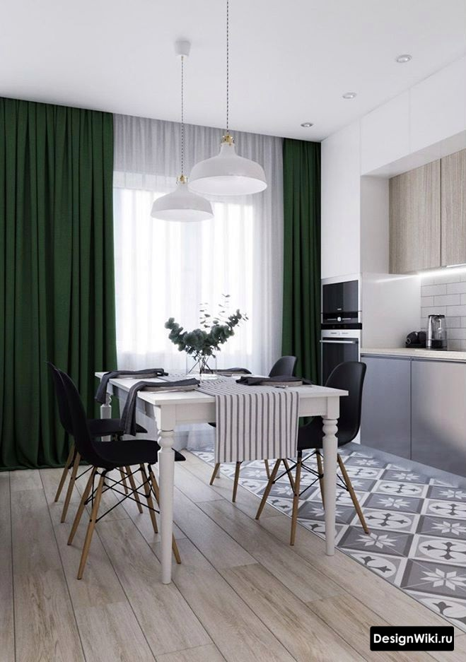 Тёмно-зелёные шторы в современном интерьере кухни