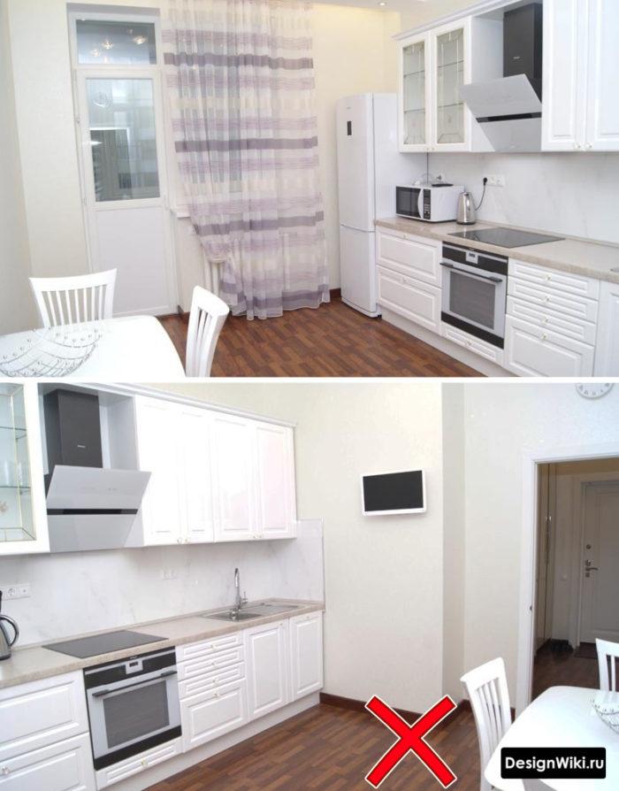 Тёмно-коричневый пол в интерьере кухни в стиле неоклассика