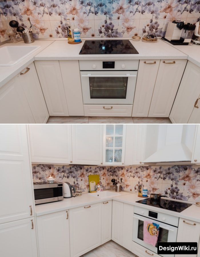Угловая белая кухня в стиле прованс маленького размера