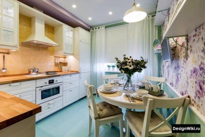 Угловая кухня 10 кв м в стиле прованс
