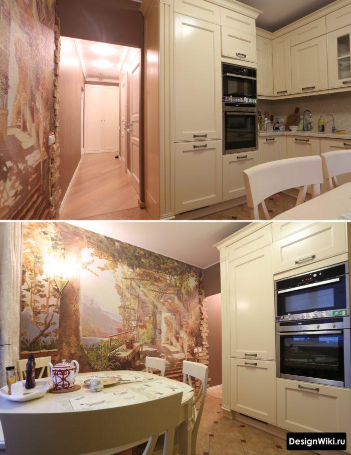 Фрески в интерьере кухни в стиле современная классика