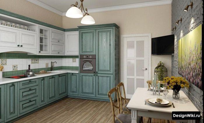 Цветовой дизайн кухни в стиле прованс