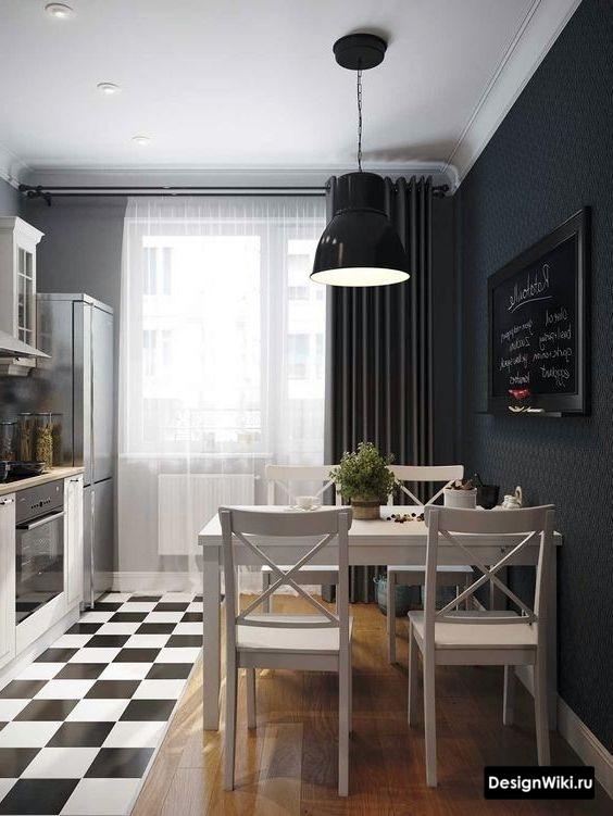 Черные шторы на одну сторону в интерьере кухни