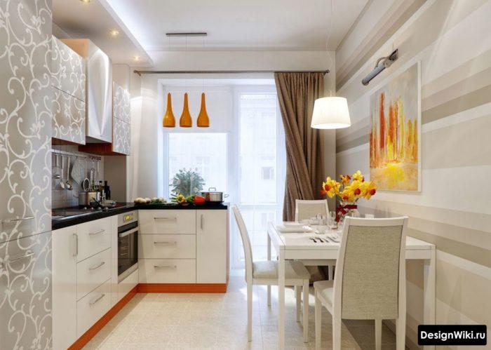 Асимметричные шторы на кухне с балконной дверью