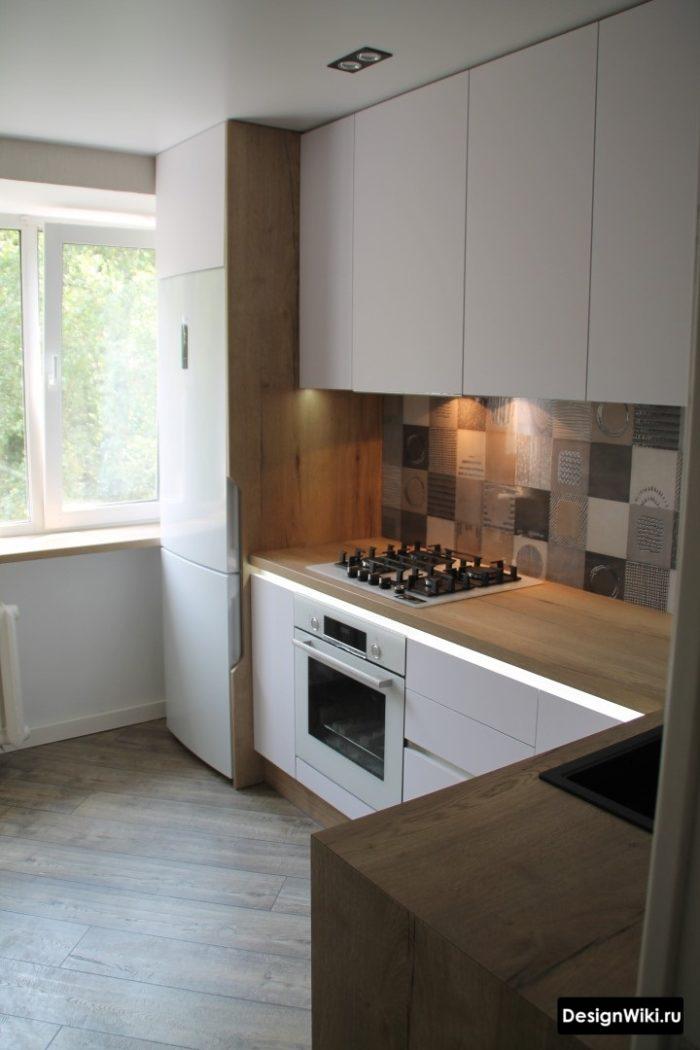 Белая угловая кухня 9 кв м