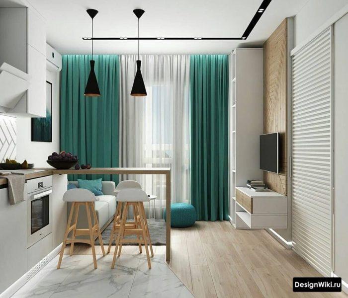 Бирюзовые шторы на кухне с балконной дверью