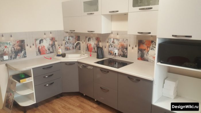 Два стыка столешницы возле угловой мойки на кухне