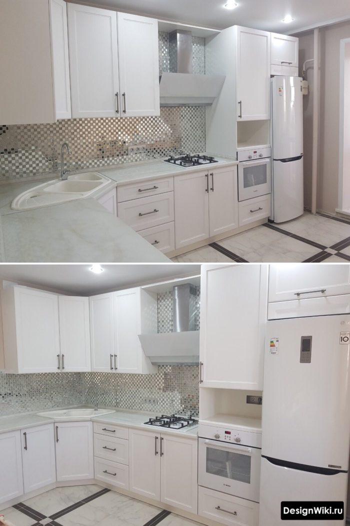 Дизайн маленькой кухни с угловой мойкой