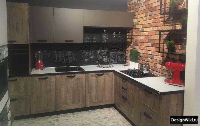 Дизайн угловой кухни в стиле лофт