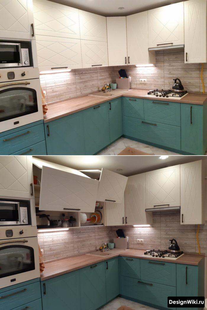Дизайн угловой кухни 9 кв.м с мойкой в углу