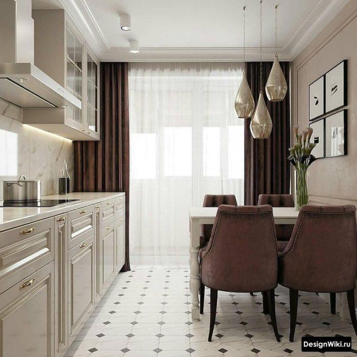 Коричневые шторы и тюль на кухне с балконной дверью