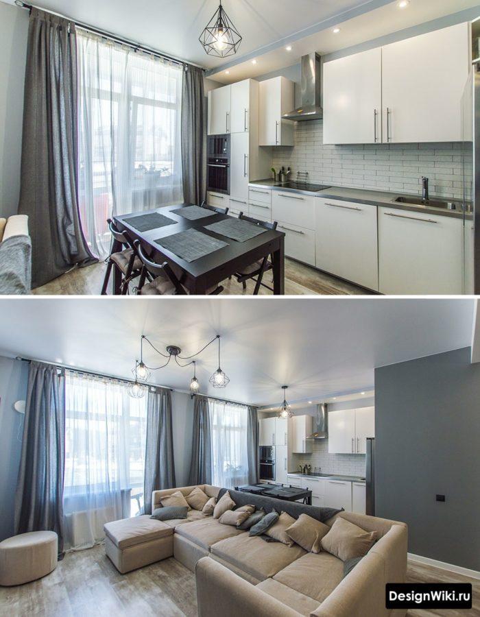 Легкие шторы и тюль в кухне-гостиной с балконной дверью