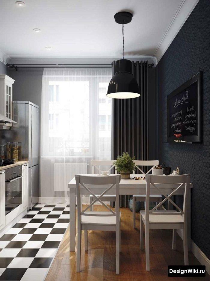 Оформление балконной двери на кухне серыми шторами и белым тюлем