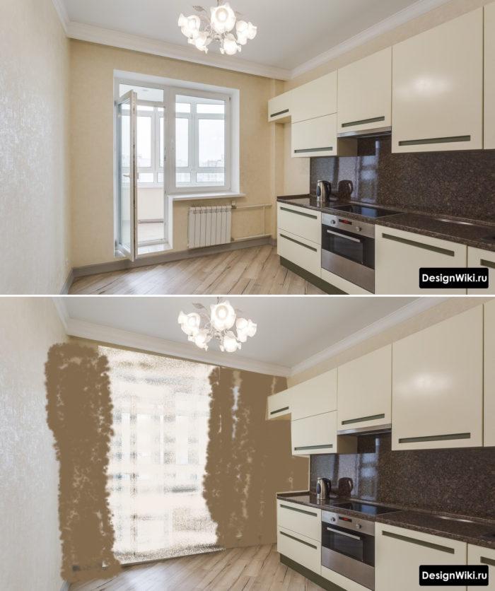Оформление кухни с балконом шторами