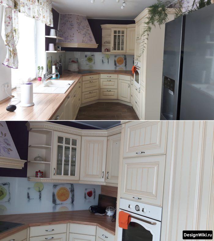 П-образная угловая кухня с окном